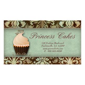 Cupcake Business Card Crown Mint Brown Vintage