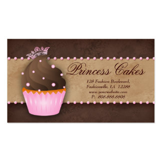Cupcake Business Card Crown Pink Brown Caramel