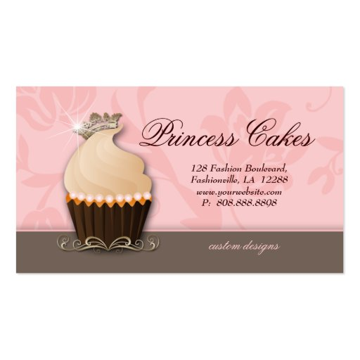 Cupcake business card crown pink brown cream zazzle for Crown business cards
