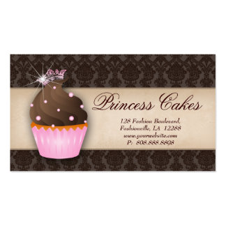 Cupcake Business Card Crown Pink Brown Dots