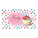 Cupcake Business Card Cute Polka Dots