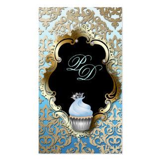 Cupcake Business Card Elegant Damask Blue Gold