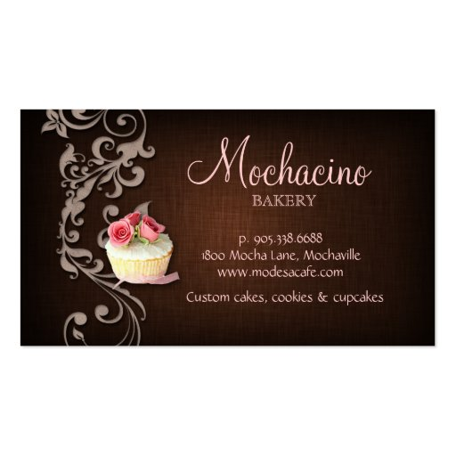Cupcake Business Card Linen Brown Pink Roses (back side)