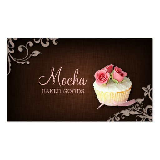 Cupcake Business Card Linen Brown Pink Roses (front side)