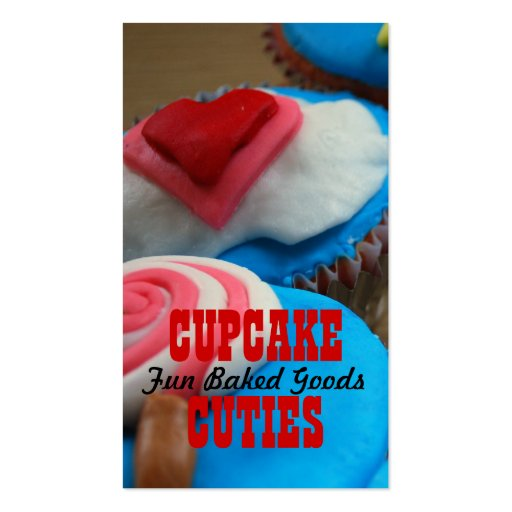 Cupcake Business Cards Red Blue White