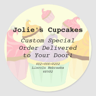 Cupcake Business Paper Products Classic Round Sticker