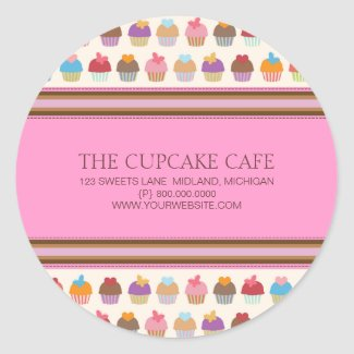 Cupcake Cafe   Bakery Business Stickers sticker