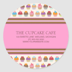 Cupcake Cafe | Bakery Business Stickers at Zazzle