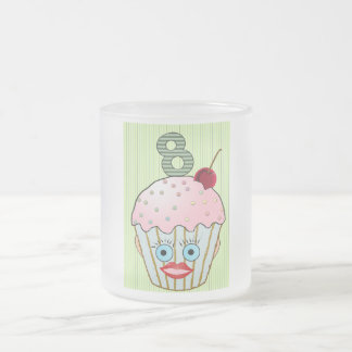 Cupcake Cake Birthday Pattern Face Eye Cute Eight Frosted Glass Coffee Mug