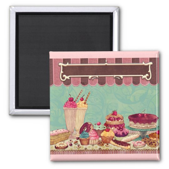 Cupcake Cake Party Sign Banner 2 Inch Square Magnet