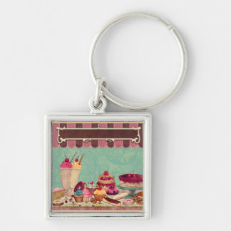Cupcake Cake Party Sign Banner Keychains