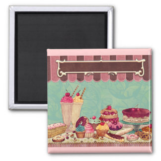 Cupcake Cake Party Sign Banner Fridge Magnets