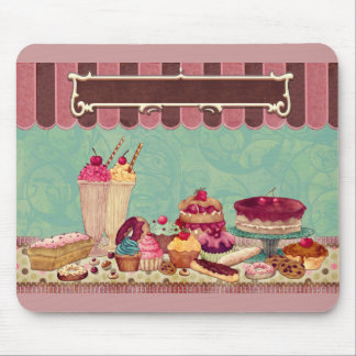 Cupcake Cake Party Sign Banner Mousepads