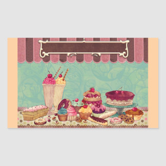 Cupcake Cake Party Sign Banner Rectangle Sticker