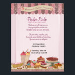 """Cupcake, Cakes and Treats Bake Sale Flyer<br><div class=""""desc"""">Fun design for all the talented cooks out there. Perfect for a patisserie, bakery and other sweet treat businesses too. This Bake Sale flyer features a delicious display of cakes, candies and ice cream in pink, chocolate and cream colors with aqua accents. All text on this flyer is ready for...</div>"""