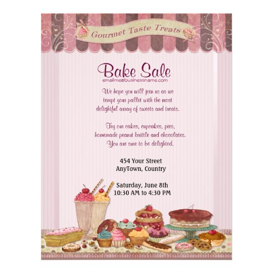 cupcake cakes and treats bake sale flyer zazzle com