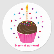 Cupcake Candle Birthday Favor Stickers