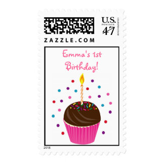 Cupcake CandleFirst Birthday Postage Stamp