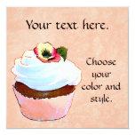 """Cupcake Card Invitation Party 5.25"""" Square Invitation Card"""