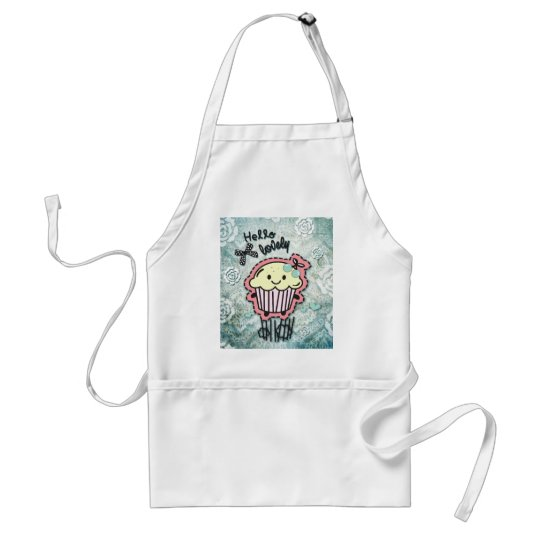 Cupcake cartoon on blue Damask, hello lovely! Adult Apron