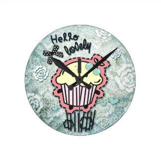 Cupcake cartoon on blue Damask, hello lovely! Round Clock