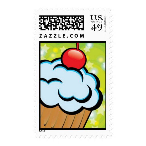 Cupcake cartoon style postage stamps