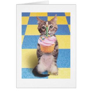 Cupcake Cat Birthday Card at Zazzle