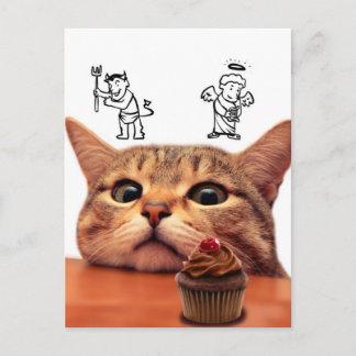 Cupcake cat - good and bad - Angel and demon Postcard