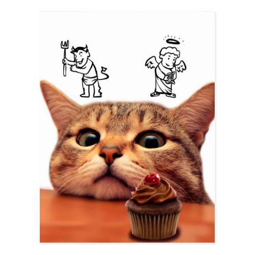 Cupcake cat _ good and bad _ Angel and demon Postcard