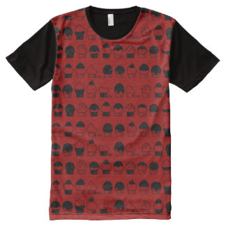 Cupcake Cavalcade – Black Repeating Pattern All-Over-Print T-Shirt