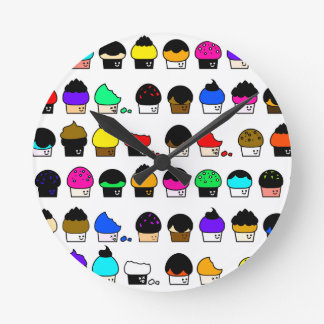 Cupcake Cavalcade – Colorful Repeating Pattern Round Clock