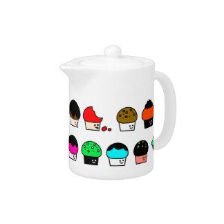 Cupcake Cavalcade – Colorful Repeating Pattern Teapot