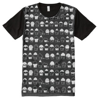 Cupcake Cavalcade – White Repeating Pattern All-Over-Print T-Shirt
