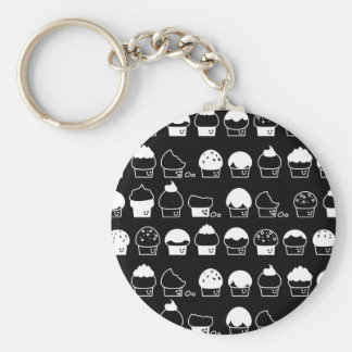 Cupcake Cavalcade – White Repeating Pattern Keychain
