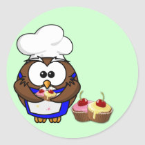 cupcake chef owl classic round sticker