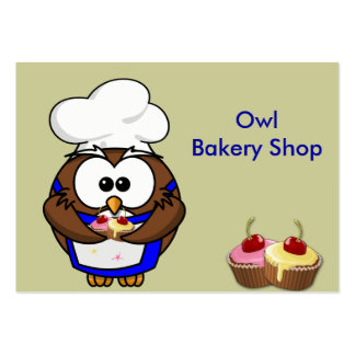 cupcake chef owl large business card