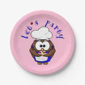 cupcake chef owl paper plate