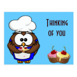 cupcake chef owl post card