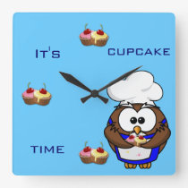 cupcake chef owl square wall clock