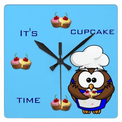 cupcake chef owl square wall clocks