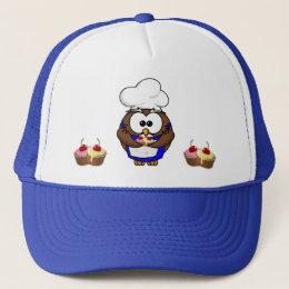 cupcake chef owl trucker hat