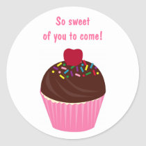 Cupcake Cherry Birthday Favor Stickers