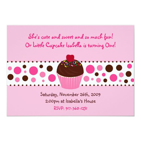 Cupcake Cherry Dots Birthday Invitation