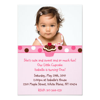 Cupcake Cherry Dots Custom Birthday Invitations