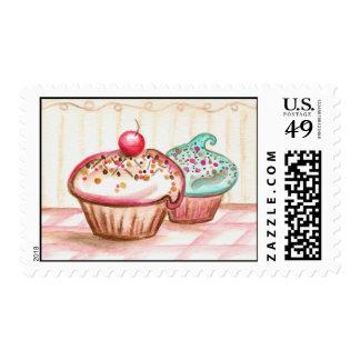 Cupcake Cherry Sprinkles Valentine Bakery Postage