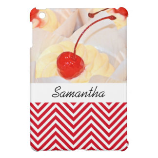 Cupcake chevron black red iPad mini cover