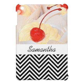 Cupcake chevron black red iPad mini covers