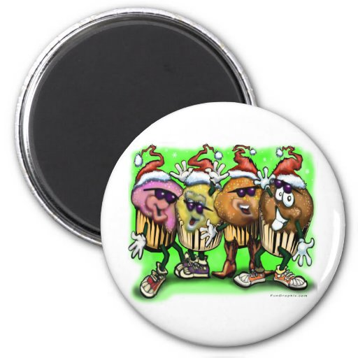 CupCake Christmas 2 Inch Round Magnet