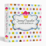 Cupcake Cloud and Colorful Dots Recipe Binder