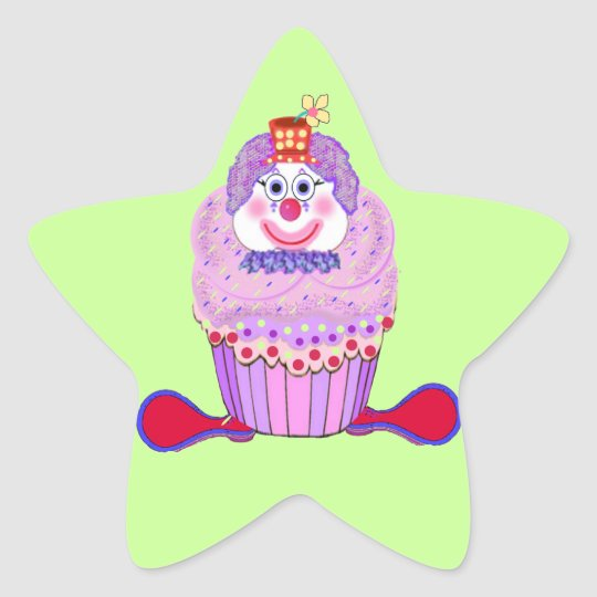 Cupcake Clown Star Sticker